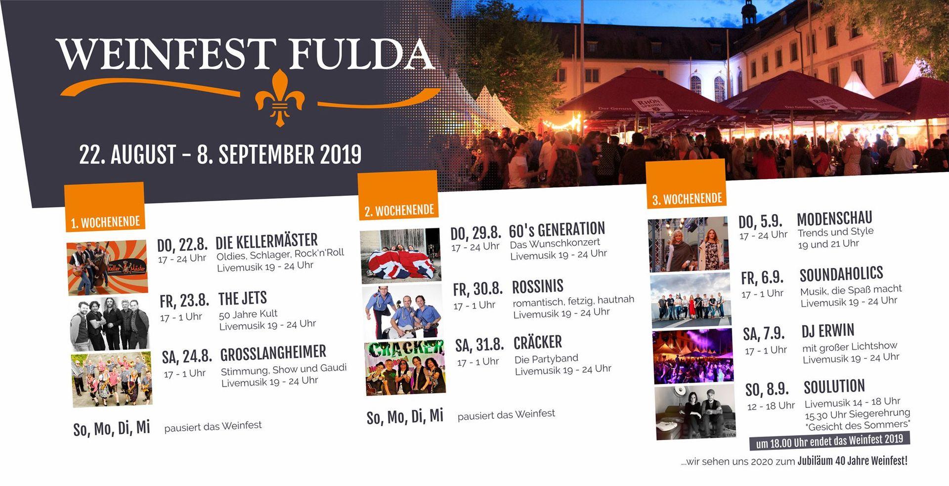 Weinfest Fulda 2019 - Programm